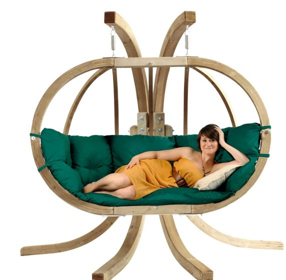 Hanging Chair with Stand Globo Royal Weatherproof Green