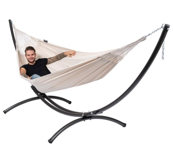 Hammock with 2 Persons Stand Arc & Comfort White