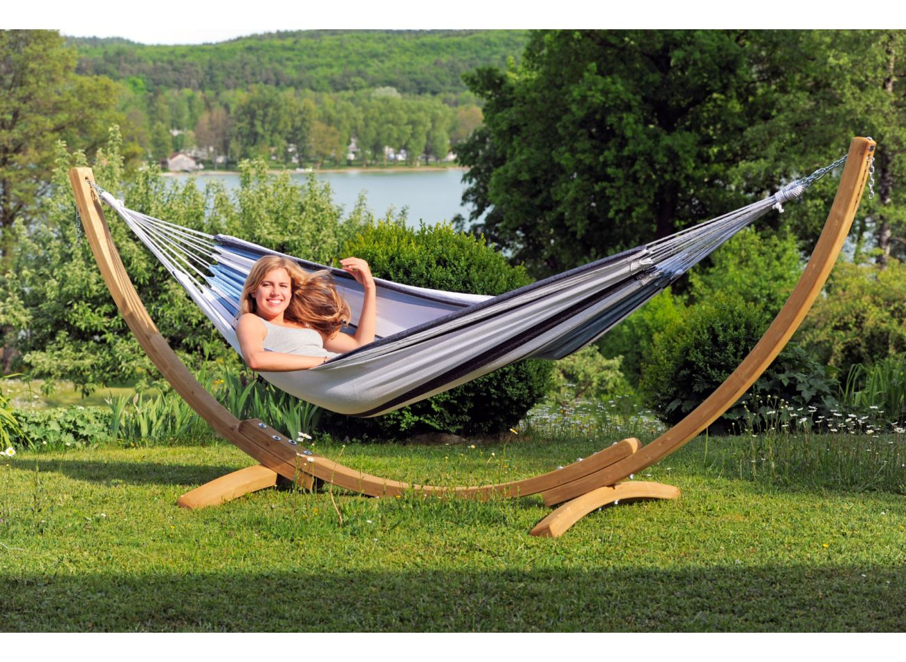 Hammock with 1 Person Stand Wood & Salsa Marine