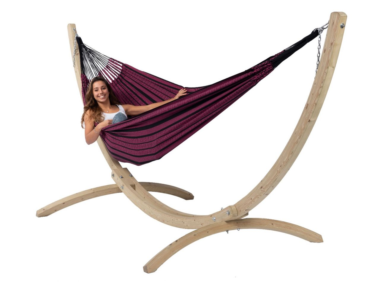 Hammock with Family Stand Wood & Black Edition Rose