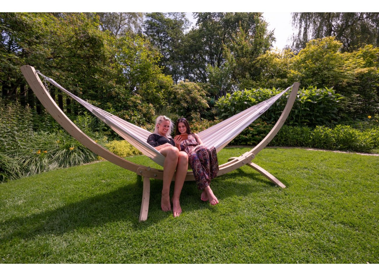 Hammock with 2 Persons Stand Wood & Comfort White