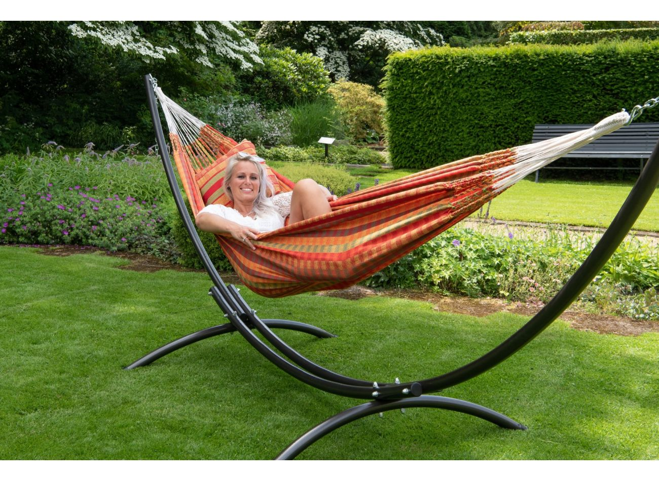 Hammock with 2 Persons Stand Arc & Premium Melon