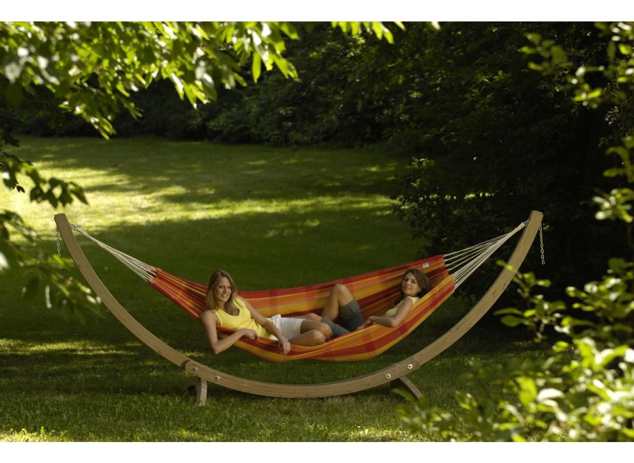 Hammock with 2 Persons Stand Wood & Barbados Papaya