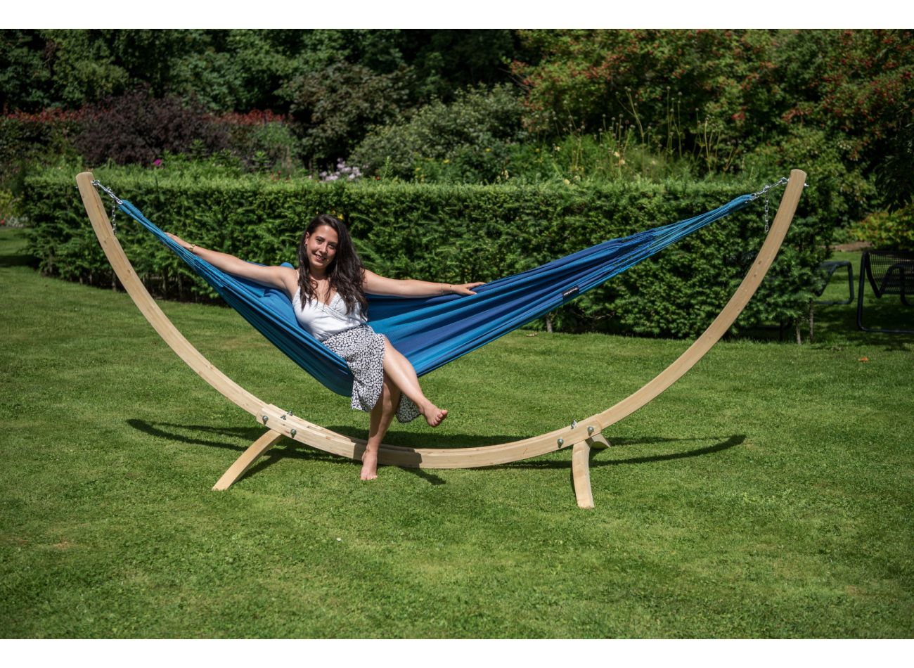 Hammock with 1 Person Stand Wood & Dream Blue