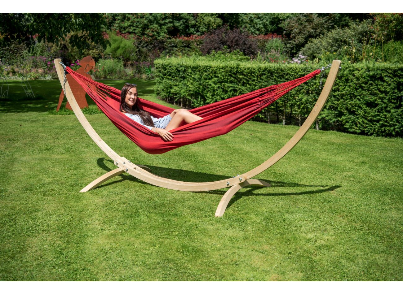 Hammock with 1 Person Stand Wood & Dream Red