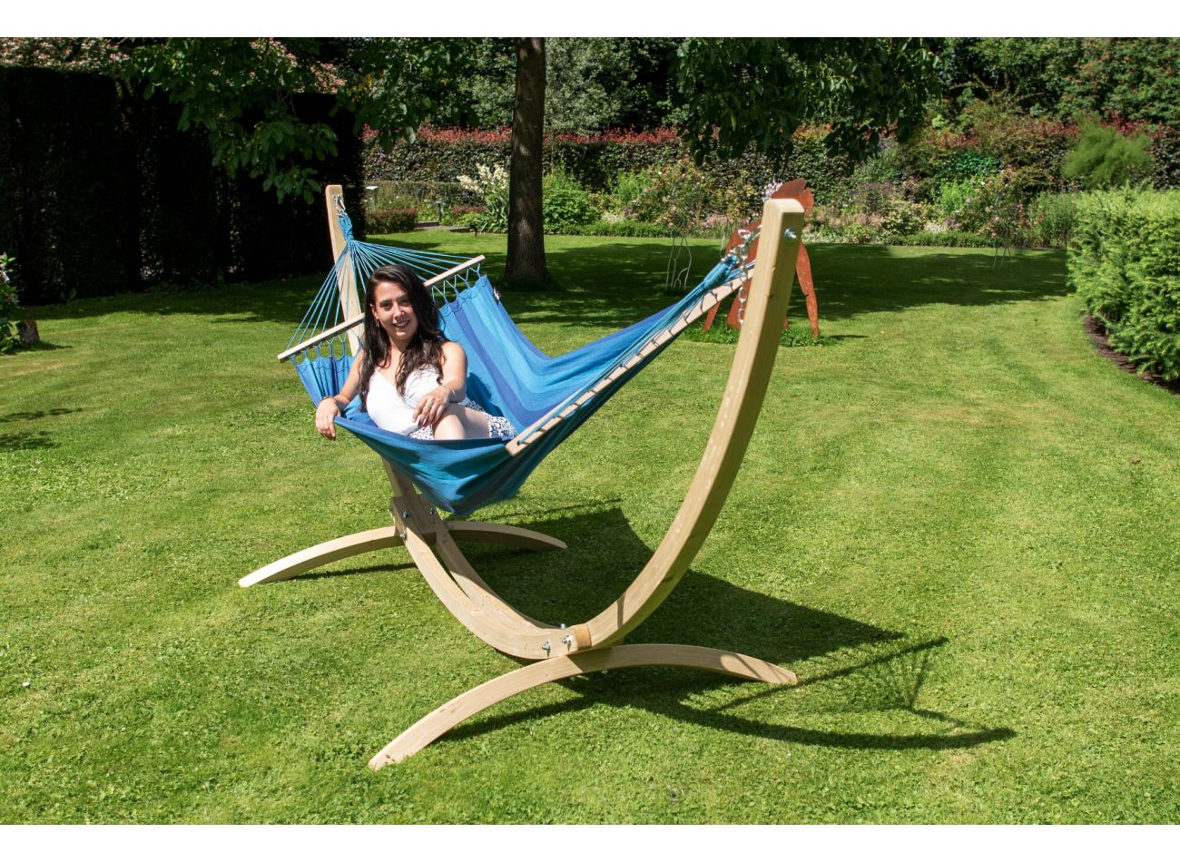Hammock with 1 Person Stand Wood & Relax Blue