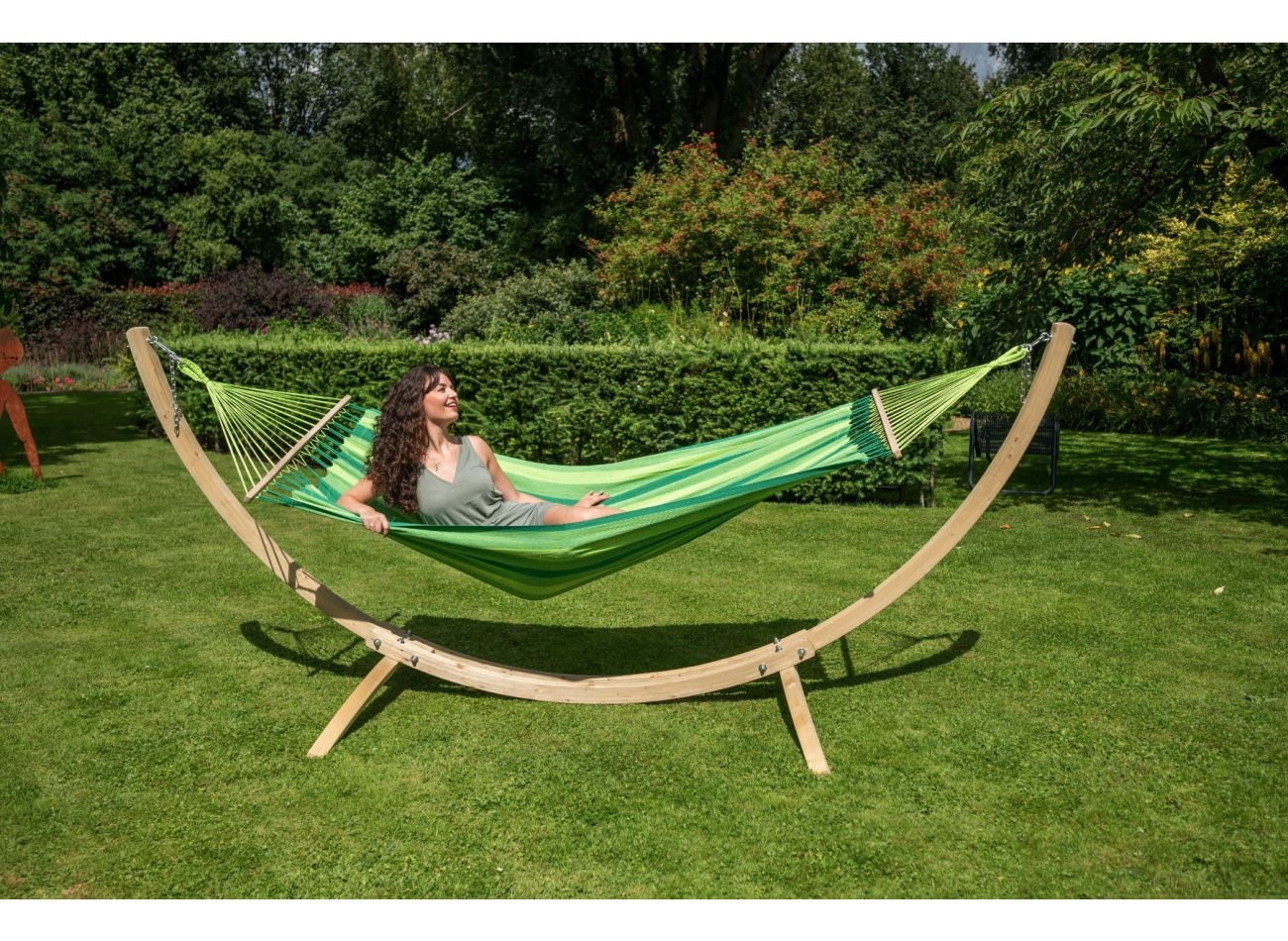 Hammock with 1 Person Stand Wood & Relax Green