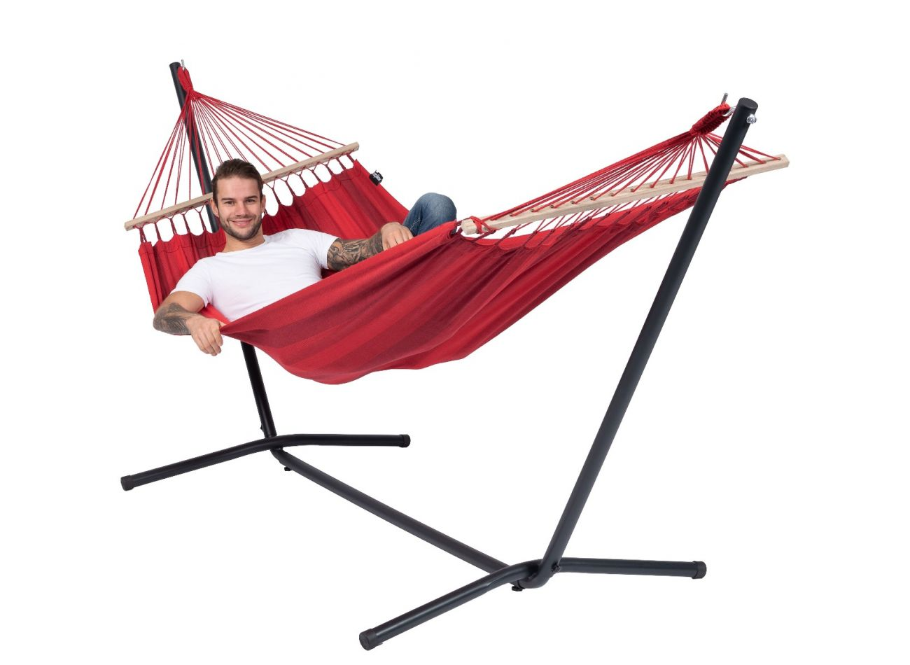 Hammock with 1 Person Stand Easy & Relax Red